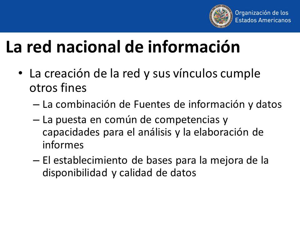 La red nacional de información La creación de la red y sus vínculos cumple otros fines – La combinación de Fuentes de información y datos – La puesta