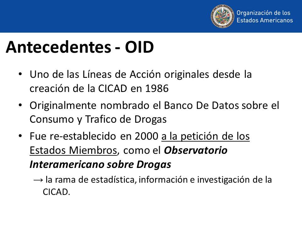 Antecedentes - OID Uno de las Líneas de Acción originales desde la creación de la CICAD en 1986 Originalmente nombrado el Banco De Datos sobre el Cons