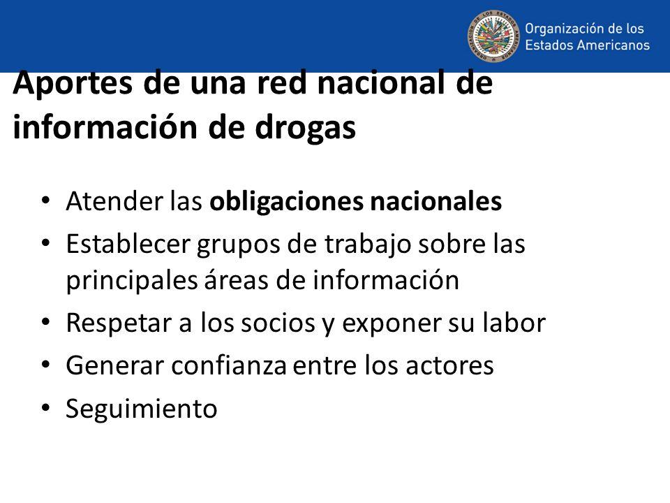 Aportes de una red nacional de información de drogas Atender las obligaciones nacionales Establecer grupos de trabajo sobre las principales áreas de información Respetar a los socios y exponer su labor Generar confianza entre los actores Seguimiento