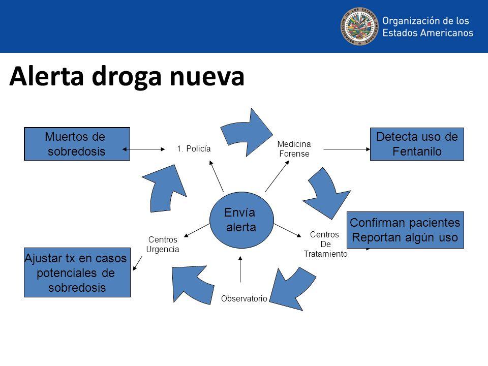 Alerta droga nueva Muertos de sobredosis Ajustar tx en casos potenciales de sobredosis Muertos de sobredosis Detecta uso de Fentanilo Confirman pacientes Reportan algún uso Envía alerta
