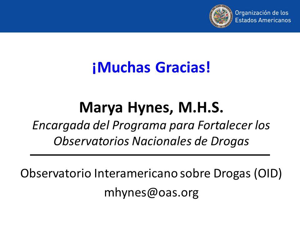 ¡Muchas Gracias! Marya Hynes, M.H.S. Encargada del Programa para Fortalecer los Observatorios Nacionales de Drogas Observatorio Interamericano sobre D