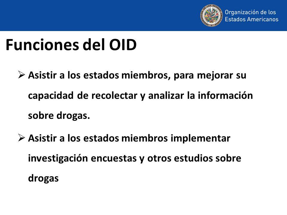 Funciones del OID Asistir a los estados miembros, para mejorar su capacidad de recolectar y analizar la información sobre drogas. Asistir a los estado