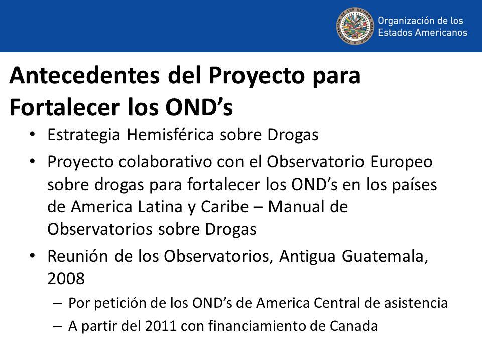 Antecedentes del Proyecto para Fortalecer los ONDs Estrategia Hemisférica sobre Drogas Proyecto colaborativo con el Observatorio Europeo sobre drogas