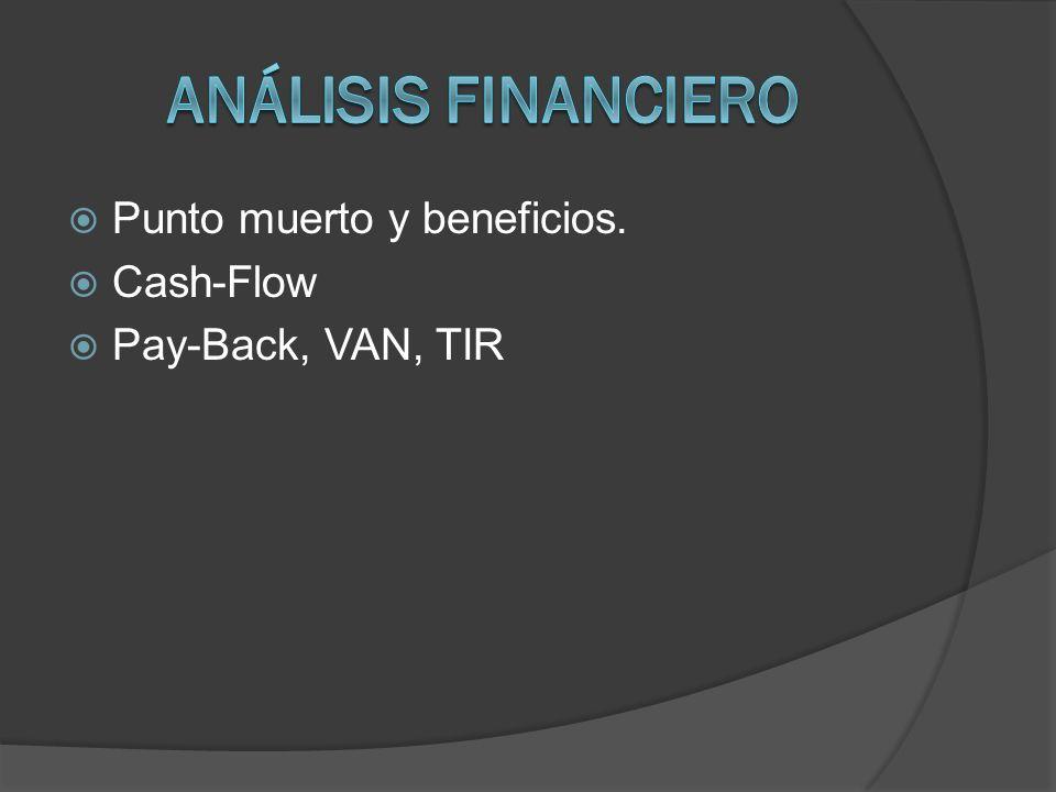 Punto muerto y beneficios. Cash-Flow Pay-Back, VAN, TIR