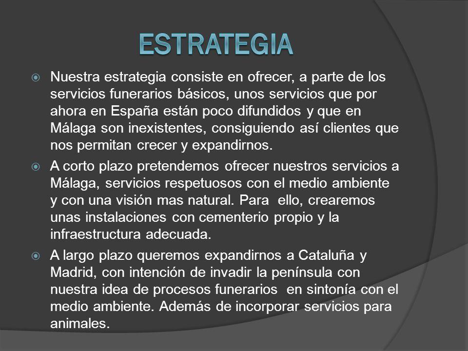 Nuestra estrategia consiste en ofrecer, a parte de los servicios funerarios básicos, unos servicios que por ahora en España están poco difundidos y que en Málaga son inexistentes, consiguiendo así clientes que nos permitan crecer y expandirnos.