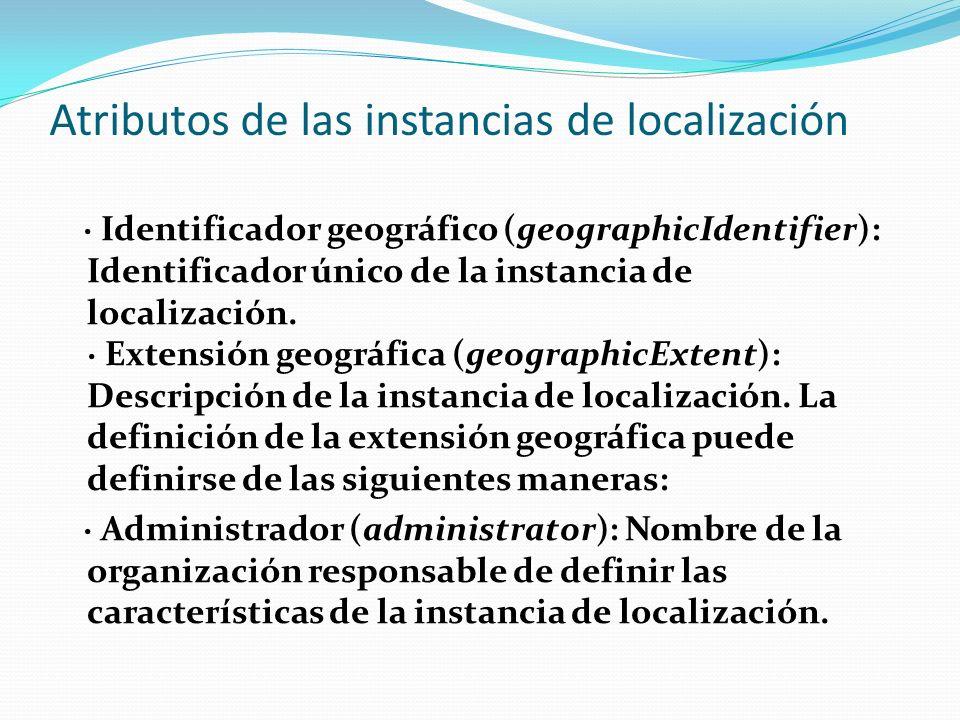 Atributos de las instancias de localización · Identificador geográfico (geographicIdentifier): Identificador único de la instancia de localización. ·