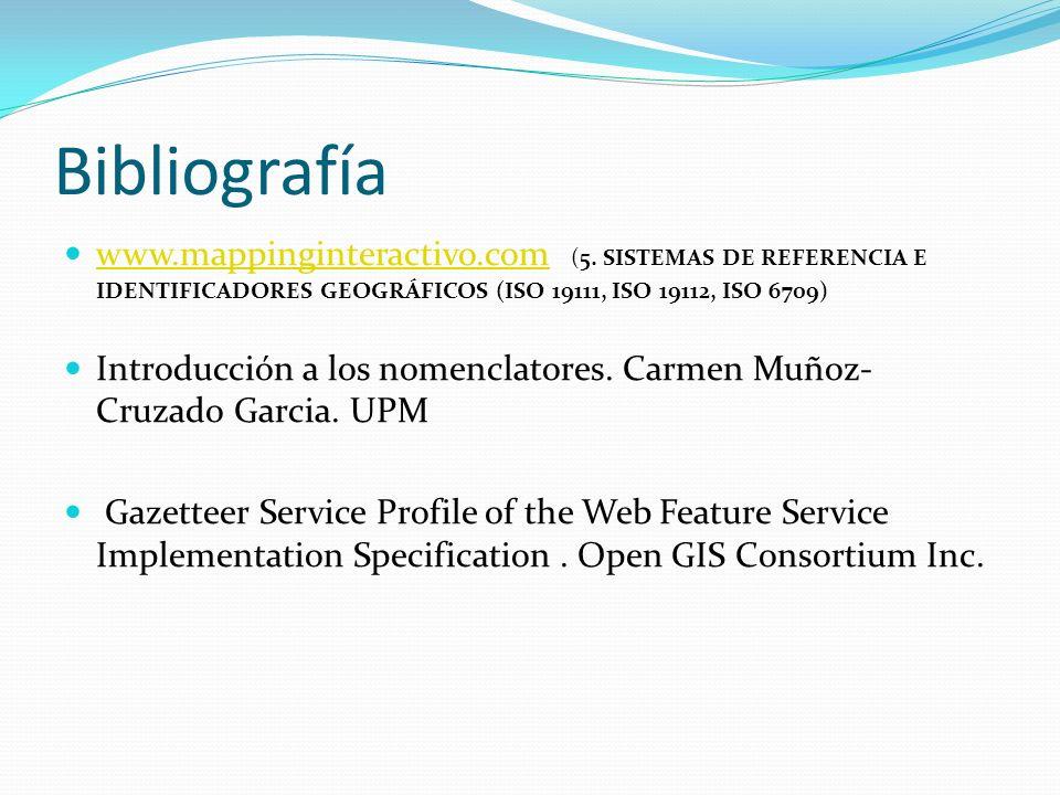 Bibliografía www.mappinginteractivo.com (5. SISTEMAS DE REFERENCIA E IDENTIFICADORES GEOGRÁFICOS (ISO 19111, ISO 19112, ISO 6709) www.mappinginteracti