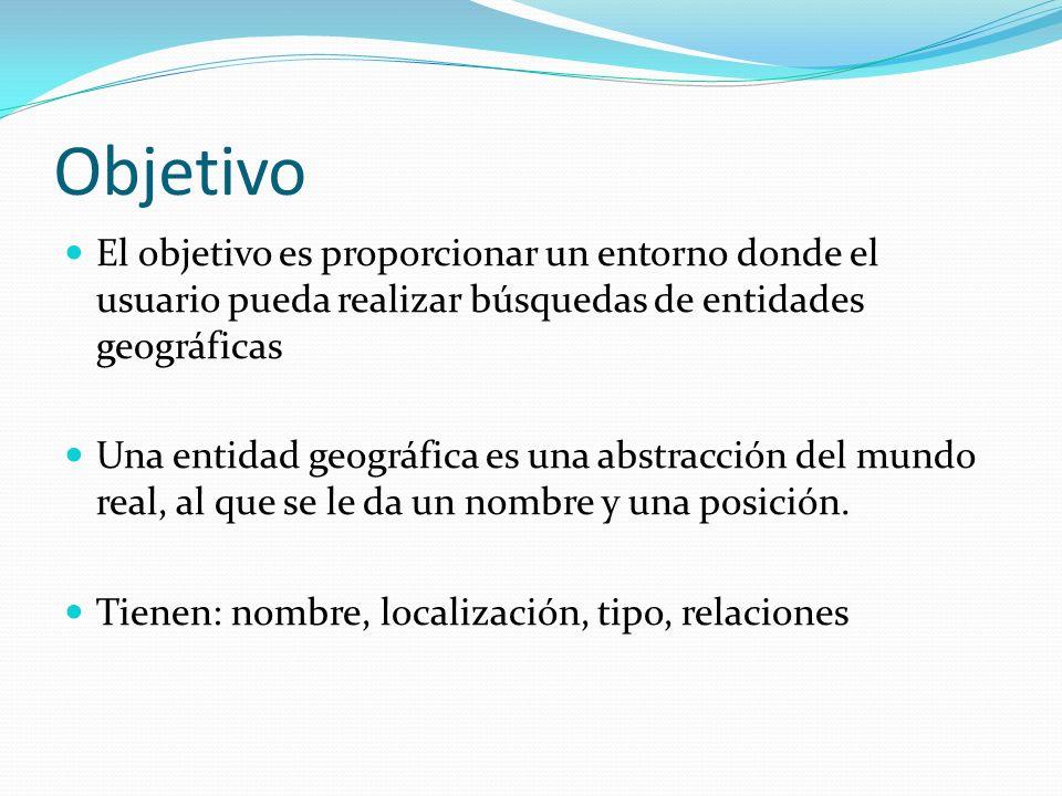 Objetivo El objetivo es proporcionar un entorno donde el usuario pueda realizar búsquedas de entidades geográficas Una entidad geográfica es una abstr