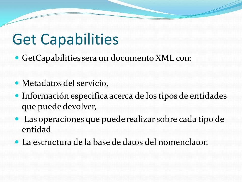 Get Capabilities GetCapabilities sera un documento XML con: Metadatos del servicio, Información especifica acerca de los tipos de entidades que puede