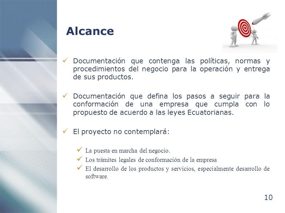 10 Alcance Documentación que contenga las políticas, normas y procedimientos del negocio para la operación y entrega de sus productos. Documentación q