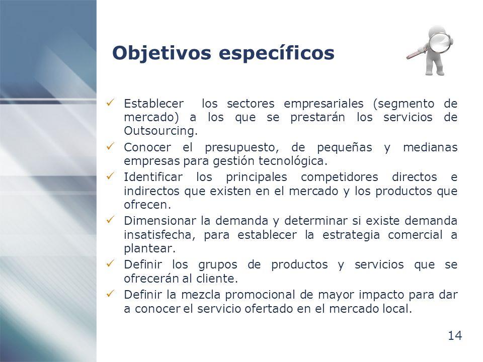 14 Objetivos específicos Establecer los sectores empresariales (segmento de mercado) a los que se prestarán los servicios de Outsourcing. Conocer el p