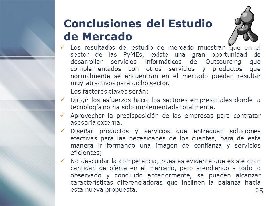 25 Conclusiones del Estudio de Mercado Los resultados del estudio de mercado muestran que en el sector de las PyMEs, existe una gran oportunidad de de