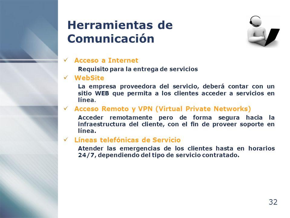 32 Herramientas de Comunicación Acceso a Internet Requisito para la entrega de servicios WebSite La empresa proveedora del servicio, deberá contar con un sitio WEB que permita a los clientes acceder a servicios en línea.