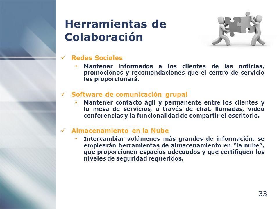 33 Herramientas de Colaboración Redes Sociales Mantener informados a los clientes de las noticias, promociones y recomendaciones que el centro de servicio les proporcionará.