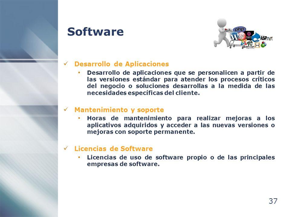 37 Software Desarrollo de Aplicaciones Desarrollo de aplicaciones que se personalicen a partir de las versiones estándar para atender los procesos críticos del negocio o soluciones desarrollas a la medida de las necesidades específicas del cliente.