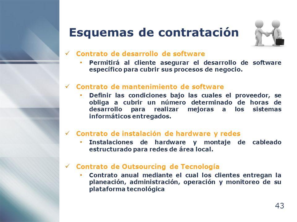 43 Esquemas de contratación Contrato de desarrollo de software Permitirá al cliente asegurar el desarrollo de software específico para cubrir sus proc