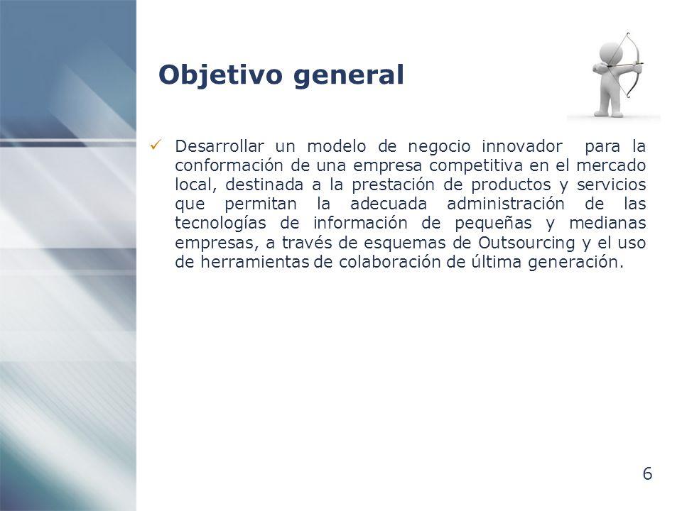6 Objetivo general Desarrollar un modelo de negocio innovador para la conformación de una empresa competitiva en el mercado local, destinada a la pres