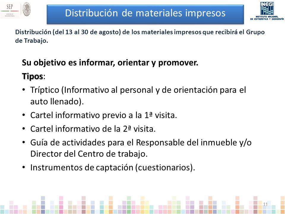 Distribución de materiales impresos Su objetivo es informar, orientar y promover.