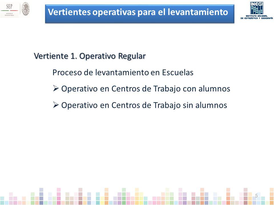 Vertientes operativas para el levantamiento Vertiente 1.