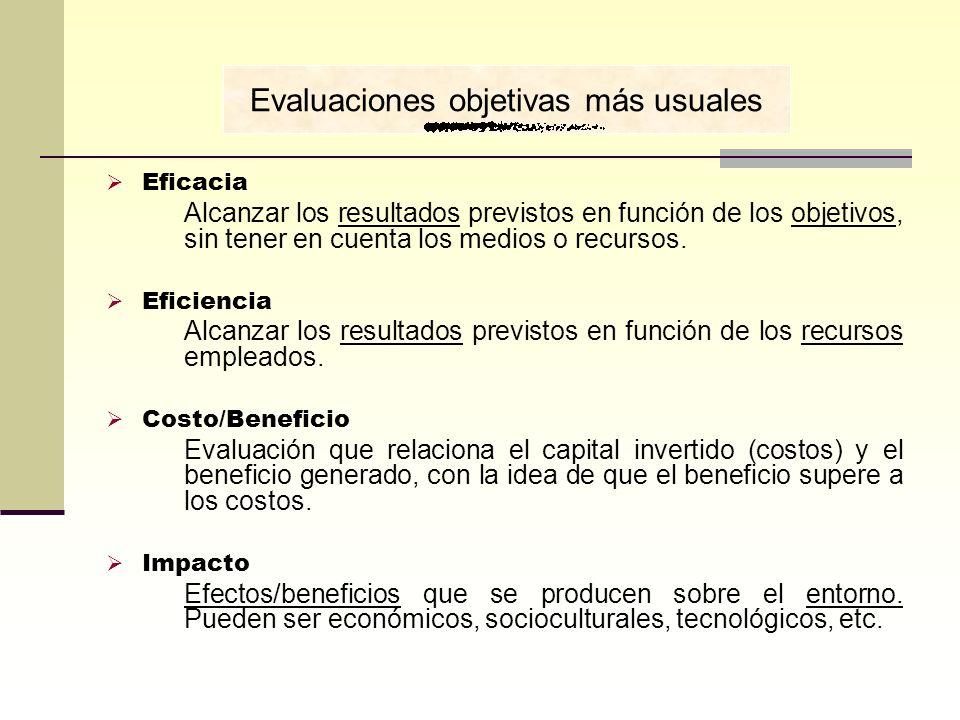 Eficacia Alcanzar los resultados previstos en función de los objetivos, sin tener en cuenta los medios o recursos. Eficiencia Alcanzar los resultados