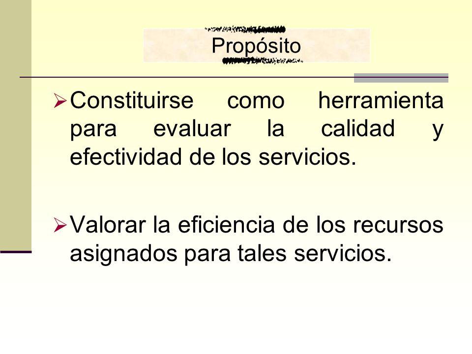 Constituirse como herramienta para evaluar la calidad y efectividad de los servicios. Valorar la eficiencia de los recursos asignados para tales servi