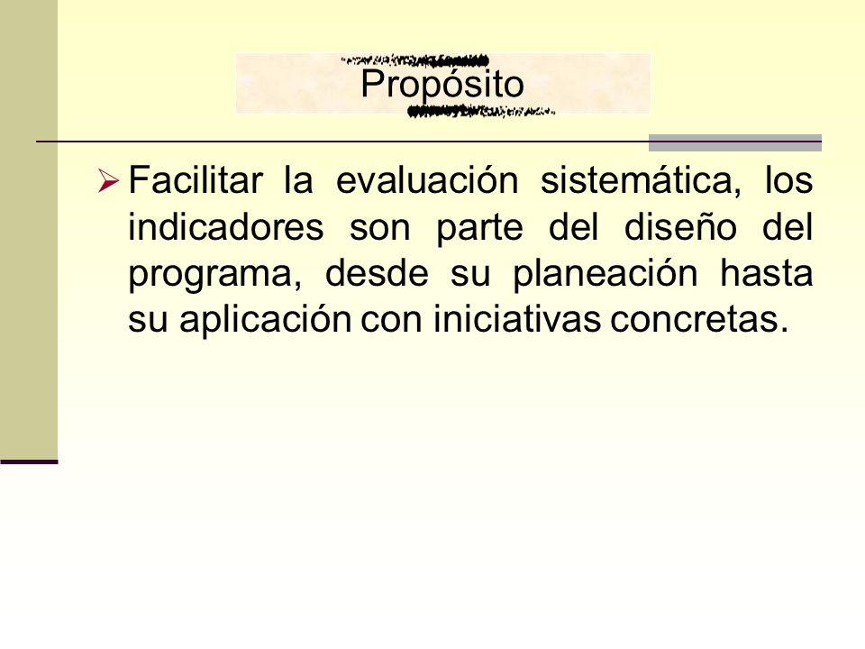 Facilitar la evaluación sistemática, los indicadores son parte del diseño del programa, desde su planeación hasta su aplicación con iniciativas concre