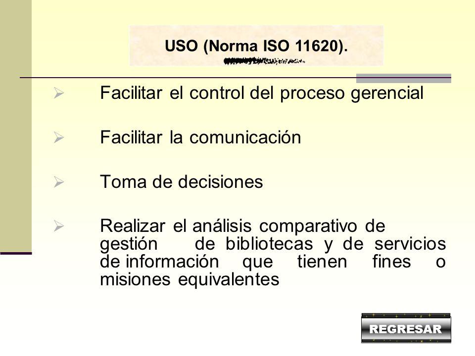 Facilitar el control del proceso gerencial Facilitar la comunicación Toma de decisiones Realizar el análisis comparativo de gestión de bibliotecas y d