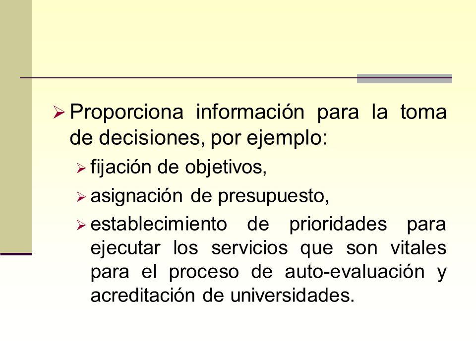 Proporciona información para la toma de decisiones, por ejemplo: fijación de objetivos, asignación de presupuesto, establecimiento de prioridades para