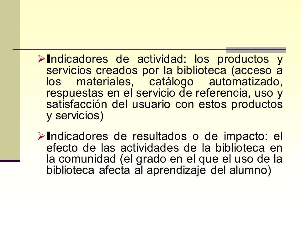 I ndicadores de actividad: los productos y servicios creados por la biblioteca (acceso a los materiales, catálogo automatizado, respuestas en el servi