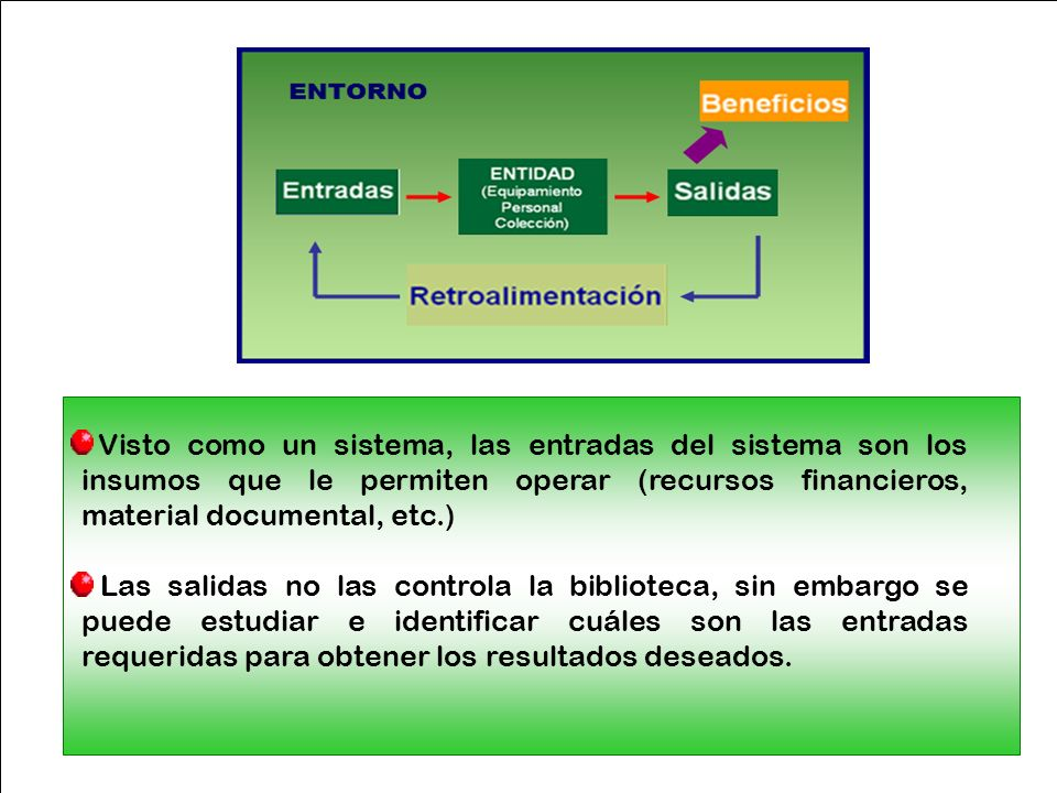Visto como un sistema, las entradas del sistema son los insumos que le permiten operar (recursos financieros, material documental, etc.) Las salidas n