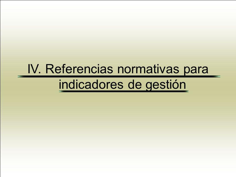 IV. Referencias normativas para indicadores de gestión