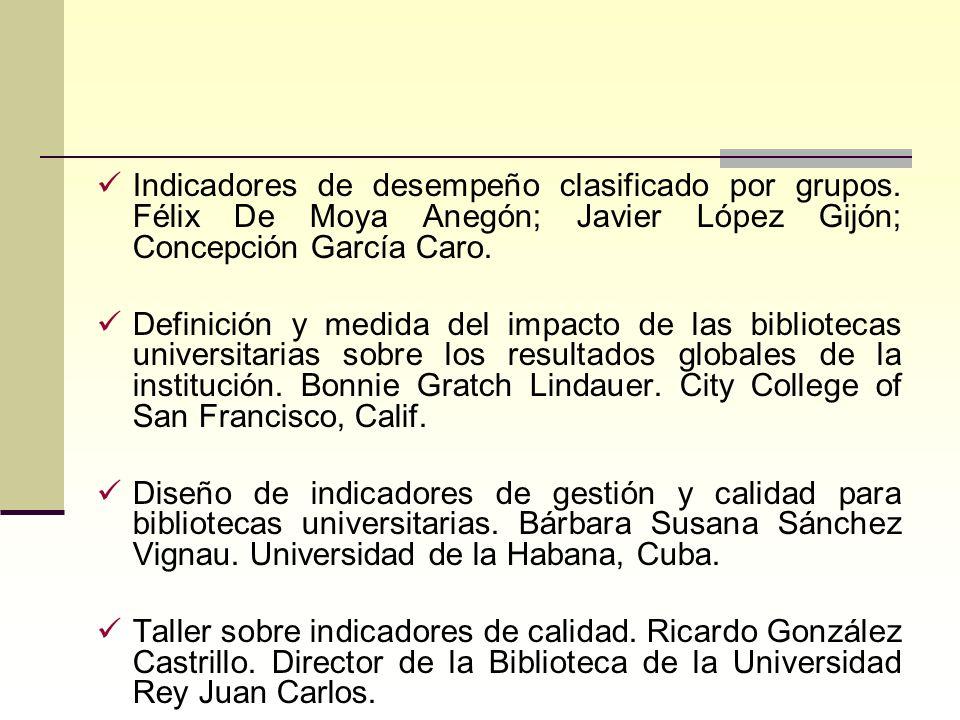 Indicadores de desempeño clasificado por grupos. Félix De Moya Anegón; Javier López Gijón; Concepción García Caro. Definición y medida del impacto de