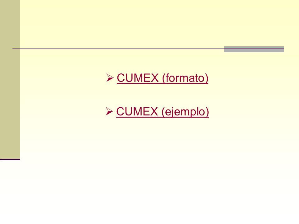 CUMEX (formato) CUMEX (ejemplo)