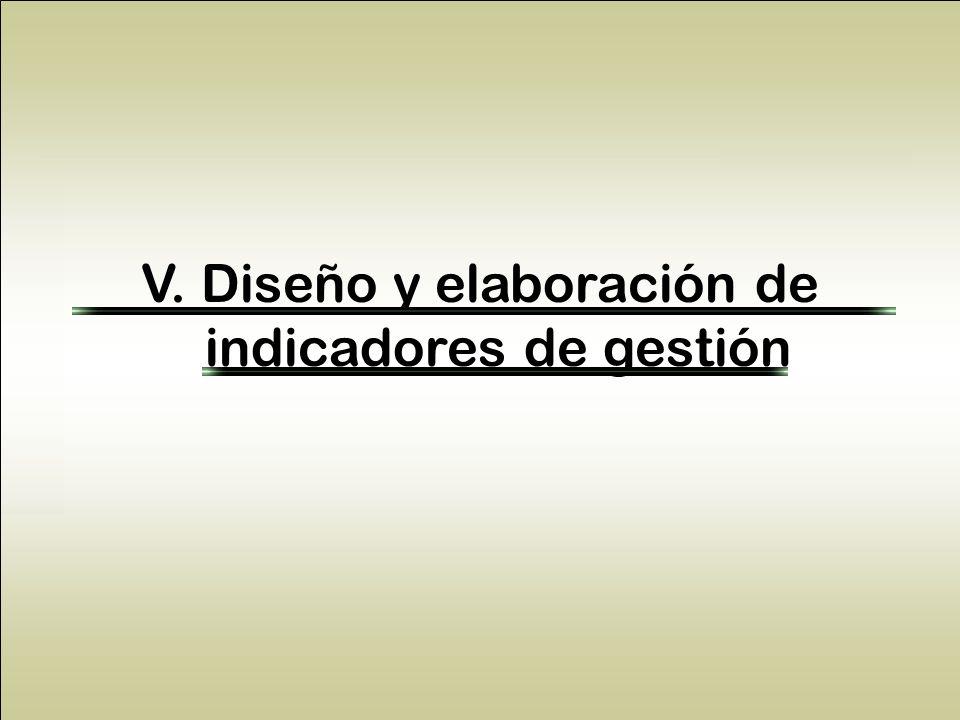 V. Diseño y elaboración de indicadores de gestión