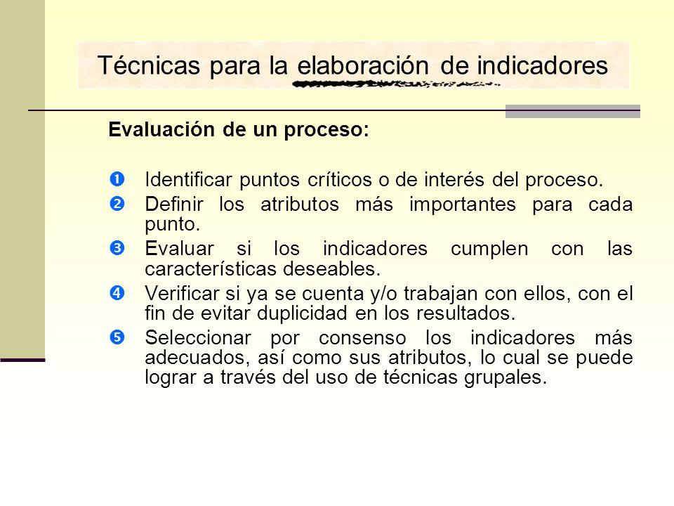 Evaluación de un proceso: Identificar puntos críticos o de interés del proceso. Definir los atributos más importantes para cada punto. Evaluar si los