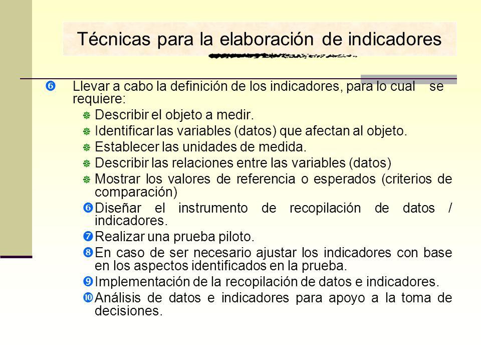 Llevar a cabo la definición de los indicadores, para lo cual se requiere: Describir el objeto a medir. Identificar las variables (datos) que afectan a