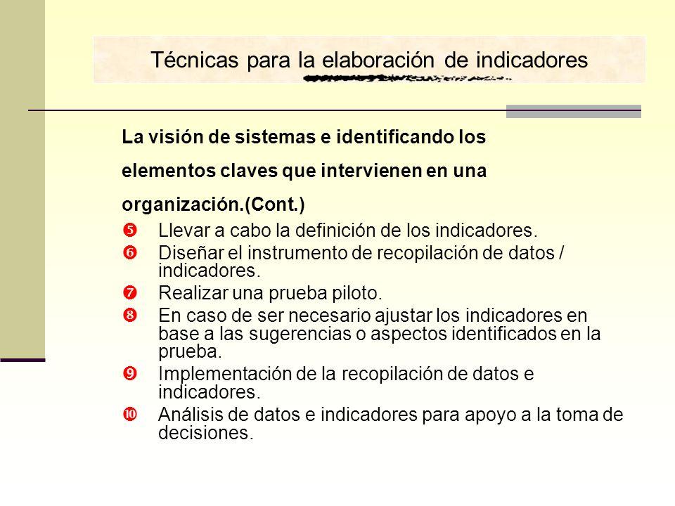 La visión de sistemas e identificando los elementos claves que intervienen en una organización.(Cont.) Llevar a cabo la definición de los indicadores.
