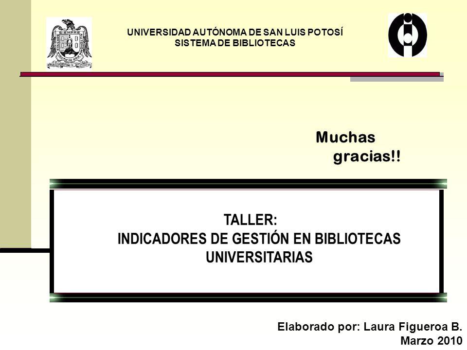 UNIVERSIDAD AUTÓNOMA DE SAN LUIS POTOSÍ SISTEMA DE BIBLIOTECAS Elaborado por: Laura Figueroa B. Marzo 2010 Muchas gracias!! TALLER: INDICADORES DE GES