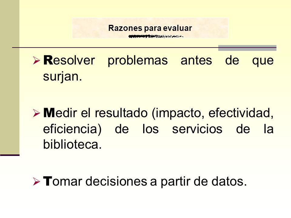 R esolver problemas antes de que surjan. M edir el resultado (impacto, efectividad, eficiencia) de los servicios de la biblioteca. T omar decisiones a