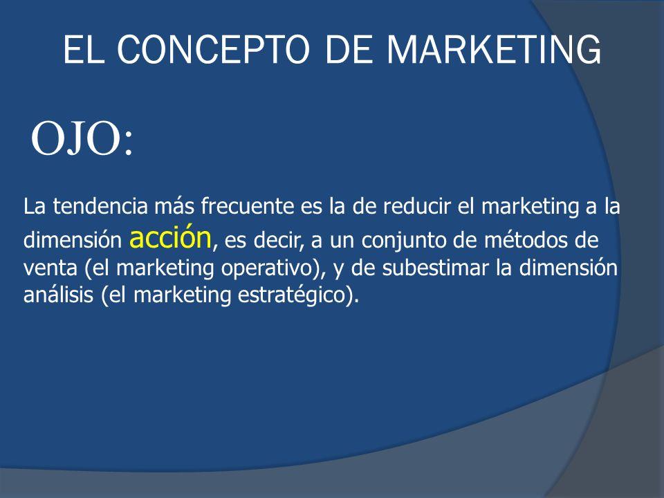 La tendencia más frecuente es la de reducir el marketing a la dimensión acción, es decir, a un conjunto de métodos de venta (el marketing operativo),