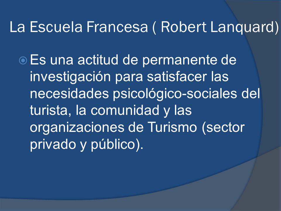 La Escuela Francesa ( Robert Lanquard) Es una actitud de permanente de investigación para satisfacer las necesidades psicológico-sociales del turista,