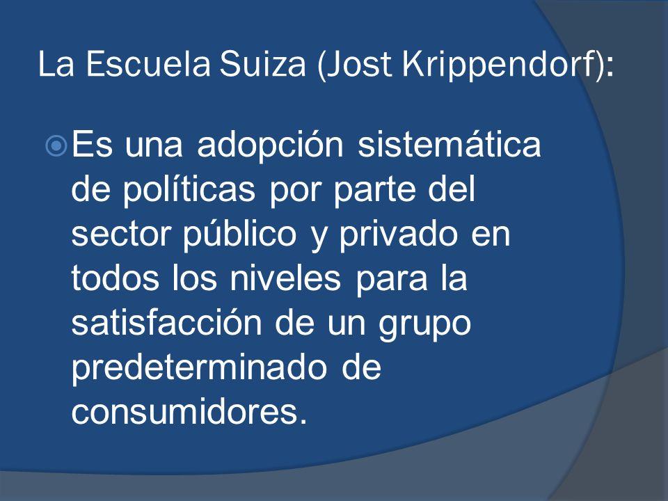 La Escuela Suiza (Jost Krippendorf): Es una adopción sistemática de políticas por parte del sector público y privado en todos los niveles para la sati