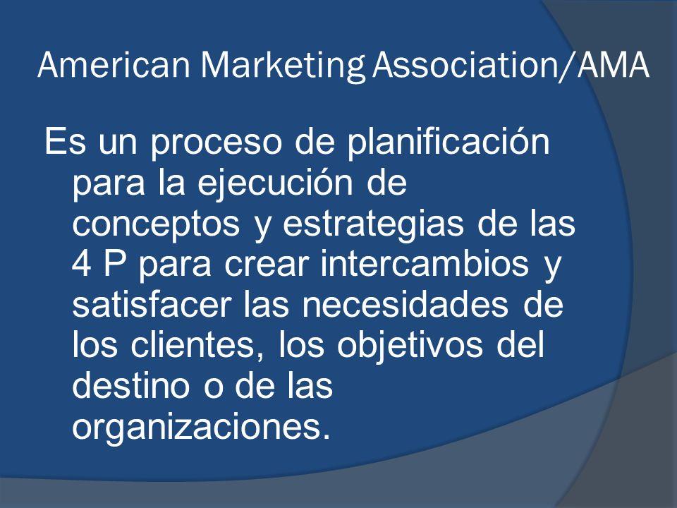 American Marketing Association/AMA Es un proceso de planificación para la ejecución de conceptos y estrategias de las 4 P para crear intercambios y sa