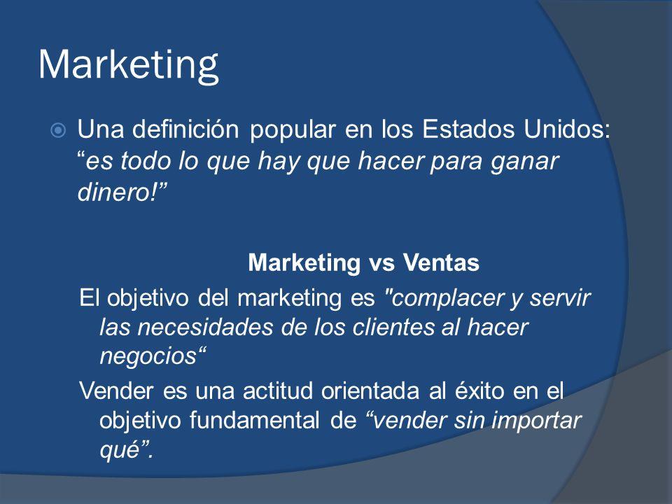 Marketing Una definición popular en los Estados Unidos:es todo lo que hay que hacer para ganar dinero! Marketing vs Ventas El objetivo del marketing e