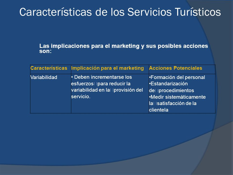 Las implicaciones para el marketing y sus posibles acciones son: CaracterísticasImplicación para el marketingAcciones Potenciales Variabilidad Deben i