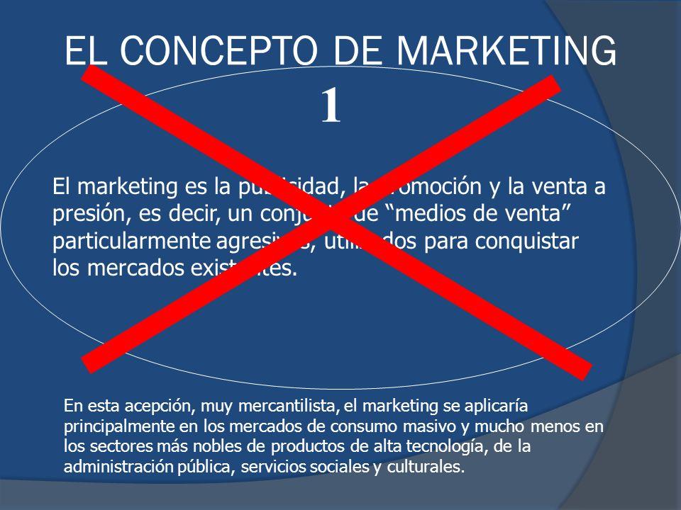 El marketing es la publicidad, la promoción y la venta a presión, es decir, un conjunto de medios de venta particularmente agresivos, utilizados para