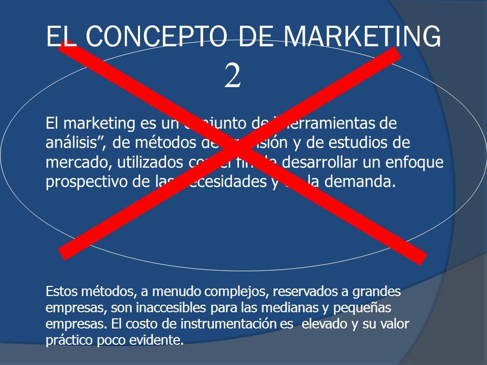 El marketing es un conjunto de herramientas de análisis, de métodos de previsión y de estudios de mercado, utilizados con el fin de desarrollar un enf