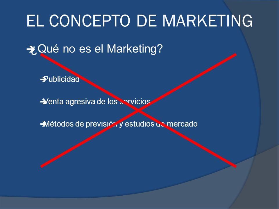 è ¿Qué no es el Marketing? è Publicidad è Venta agresiva de los servicios è Métodos de previsión y estudios de mercado EL CONCEPTO DE MARKETING
