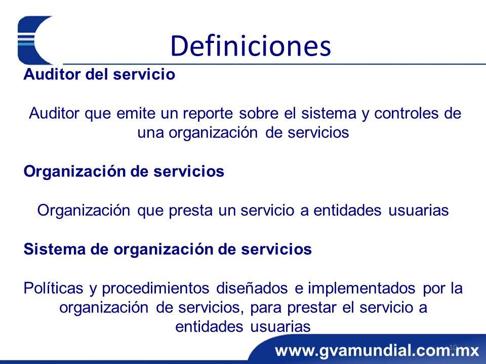 Auditor del servicio Auditor que emite un reporte sobre el sistema y controles de una organización de servicios Organización de servicios Organización