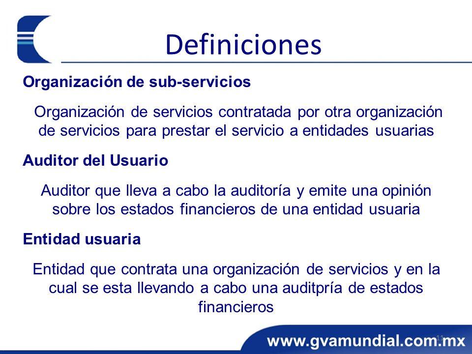 Organización de sub-servicios Organización de servicios contratada por otra organización de servicios para prestar el servicio a entidades usuarias Au
